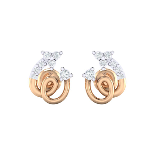 18Kt Gold Diamond Earring - Spiral