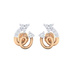 18Kt rose gold spiral diamond earring by diamtrendz
