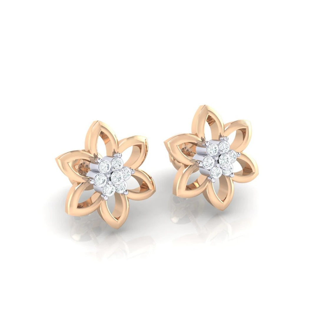 18Kt rose gold real diamond earring 8(1) by diamtrendz