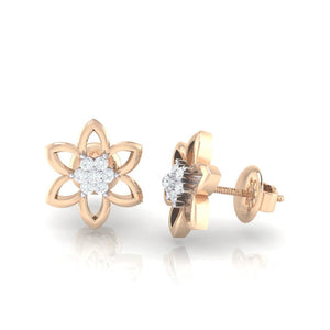 18Kt rose gold real diamond earring 8(3) by diamtrendz