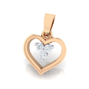 18Kt rose gold heart diamond pendant by diamtrendz