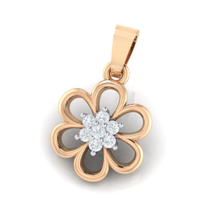 18Kt rose gold floral diamond pendant by diamtrendz