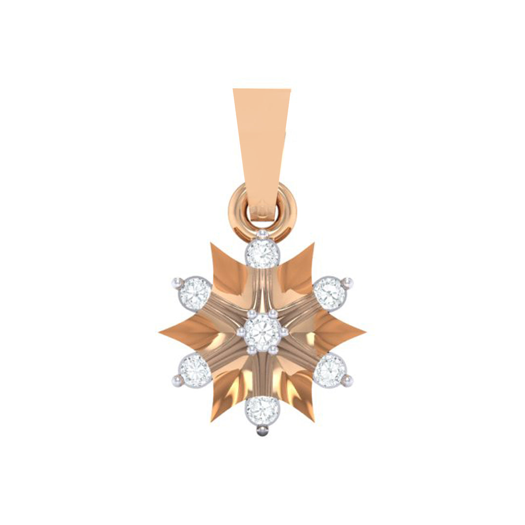 18Kt rose gold star diamond pendant by diamtrendz