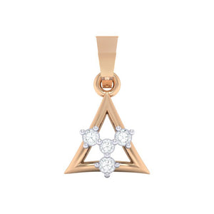 18Kt rose gold triangle diamond pendant by diamtrendz