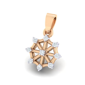 18Kt rose gold wheel diamond pendant by diamtrendz