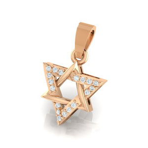18Kt rose gold real diamond star shape pendant by diamtrendz