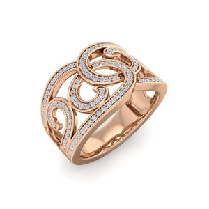 18Kt rose gold designer diamond ring by diamtrendz
