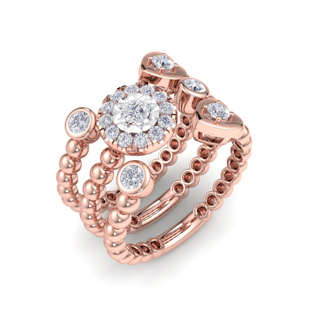 18Kt rose gold designer heart diamond ring by diamtrendz