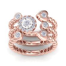 Load image into Gallery viewer, 18Kt rose gold designer heart diamond ring by diamtrendz