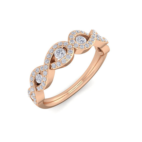 18Kt rose gold designer band diamond ring by diamtrendz