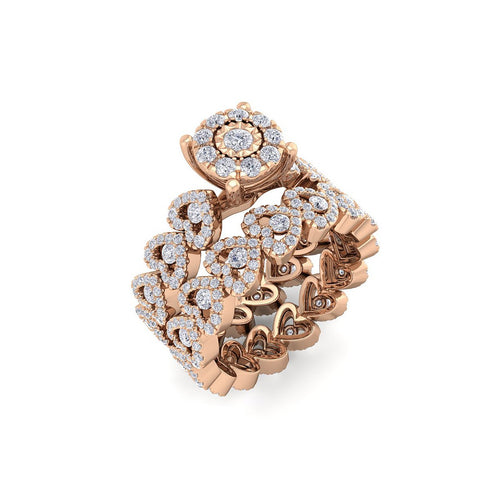 18Kt rose gold designer solitaire diamond ring by diamtrendz