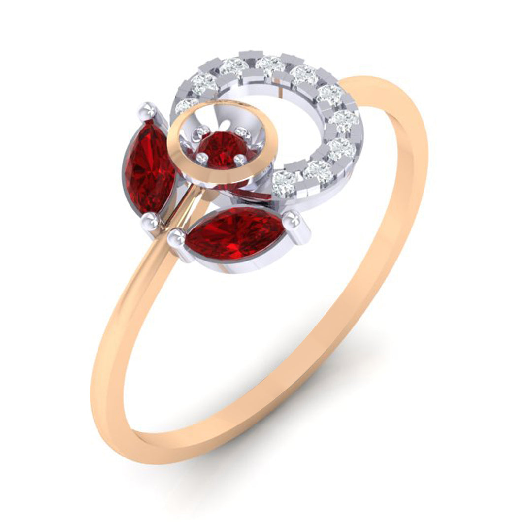 18Kt rose gold real diamond ring 28(1) by diamtrendz