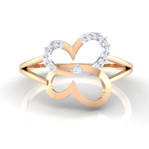 18Kt rose gold real diamond ring 34(2) by diamtrendz
