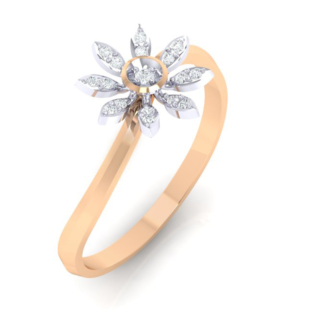 18Kt rose gold real diamond ring 36(1) by diamtrendz