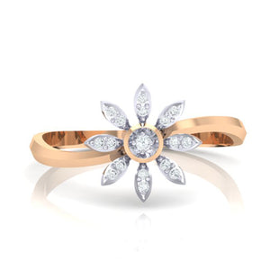 18Kt rose gold real diamond ring 36(2) by diamtrendz
