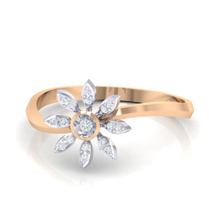 18Kt rose gold real diamond ring 36(3) by diamtrendz