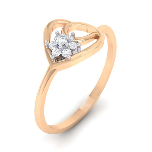 18Kt rose gold real diamond ring 37(1) by diamtrendz