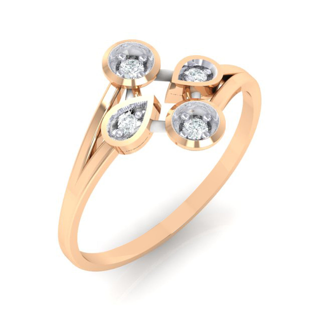 18Kt rose gold real diamond ring 40(1) by diamtrendz
