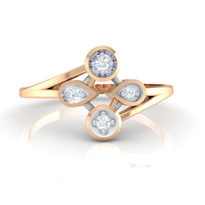 18Kt rose gold real diamond ring 40(2) by diamtrendz