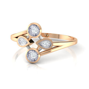 18Kt rose gold real diamond ring 40(3) by diamtrendz
