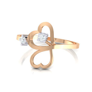 18Kt rose gold real diamond ring 42(3) by diamtrendz