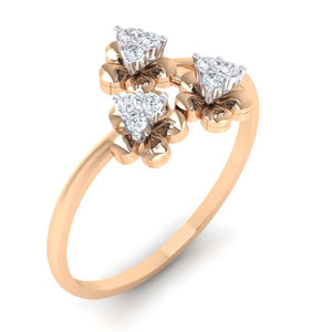 18Kt rose gold real diamond ring 43(1) by diamtrendz