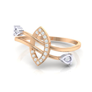 18Kt rose gold real diamond ring 44(3) by diamtrendz