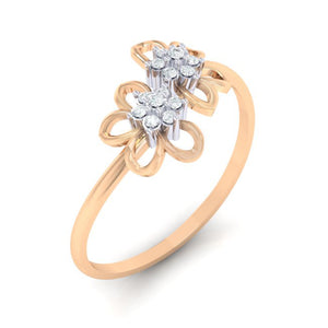 18Kt rose gold real diamond ring 46(1) by diamtrendz