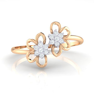 18Kt rose gold real diamond ring 46(2) by diamtrendz