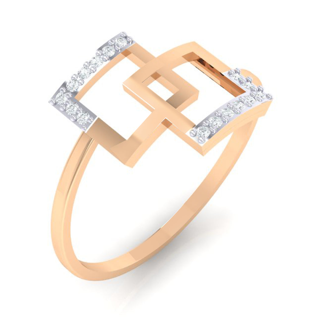 18Kt rose gold real diamond ring 48(1) by diamtrendz