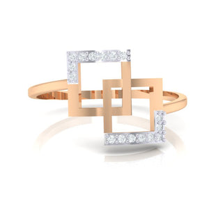 18Kt rose gold real diamond ring 48(2) by diamtrendz