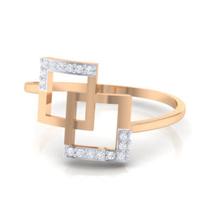 18Kt rose gold real diamond ring 48(3) by diamtrendz