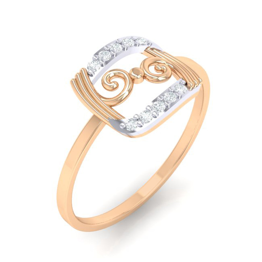 18Kt rose gold real diamond ring 49(1) by diamtrendz
