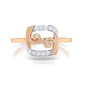 18Kt rose gold real diamond ring 49(2) by diamtrendz