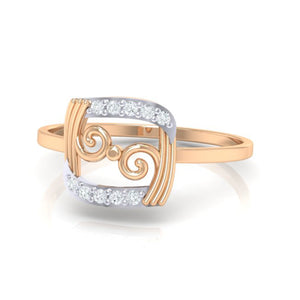 18Kt rose gold real diamond ring 49(3) by diamtrendz