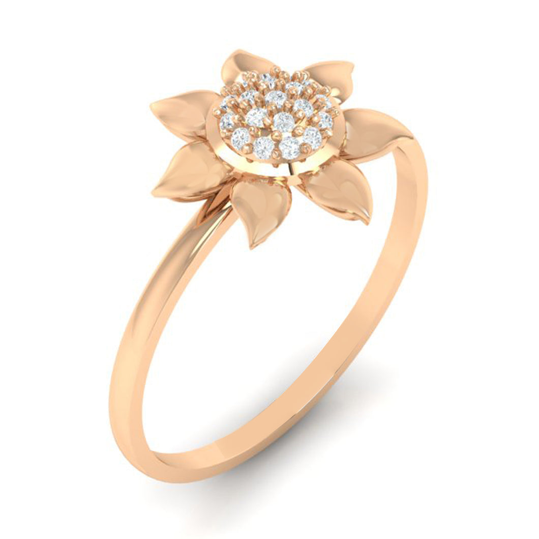 18Kt rose gold real diamond ring 50(1) by diamtrendz
