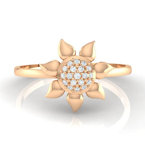 18Kt rose gold real diamond ring 50(2) by diamtrendz