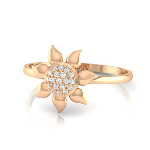 18Kt rose gold real diamond ring 50(3) by diamtrendz