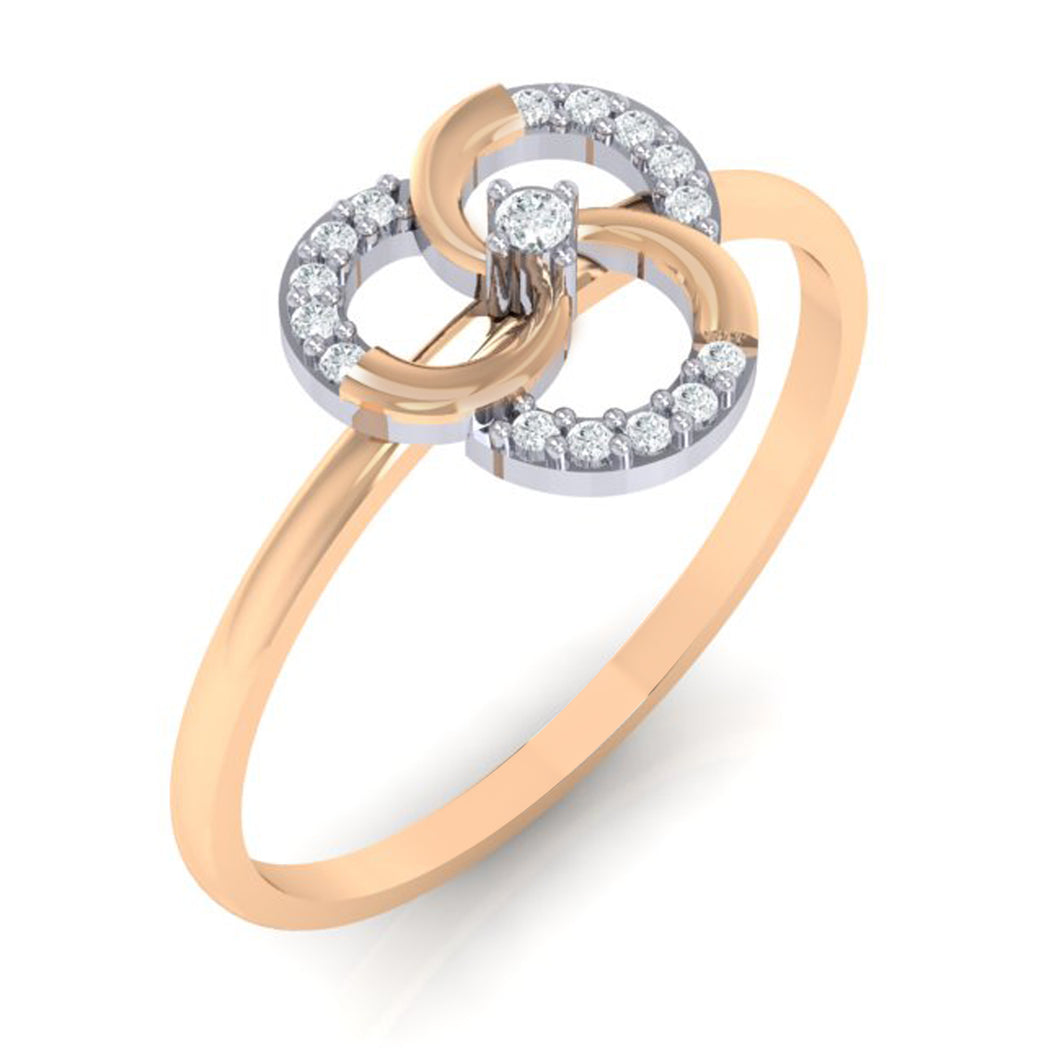 18Kt rose gold real diamond ring 51(1) by diamtrendz