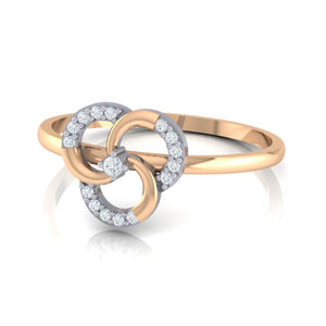 18Kt rose gold real diamond ring 51(3) by diamtrendz