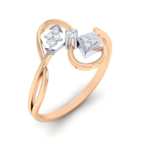 18Kt rose gold real diamond ring 52(1) by diamtrendz