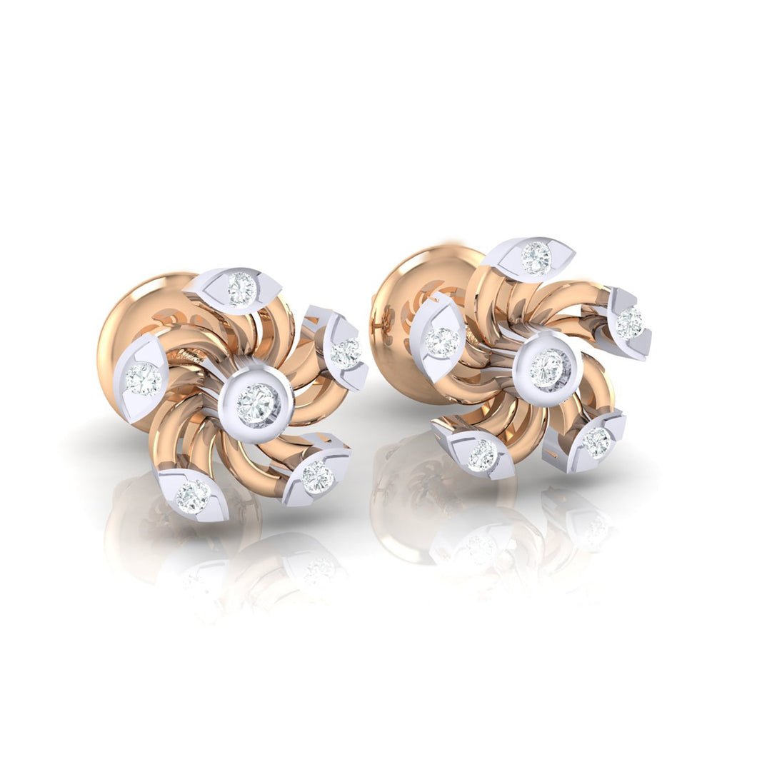18Kt rose gold real diamond stud earring 52(1) by diamtrendz