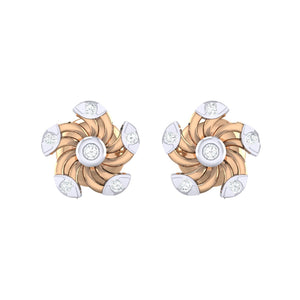 18Kt rose gold real diamond stud earring 52(2) by diamtrendz