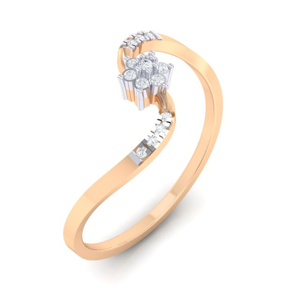 18Kt rose gold real diamond ring 53(1) by diamtrendz