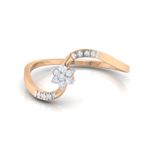 18Kt rose gold real diamond ring 53(3) by diamtrendz