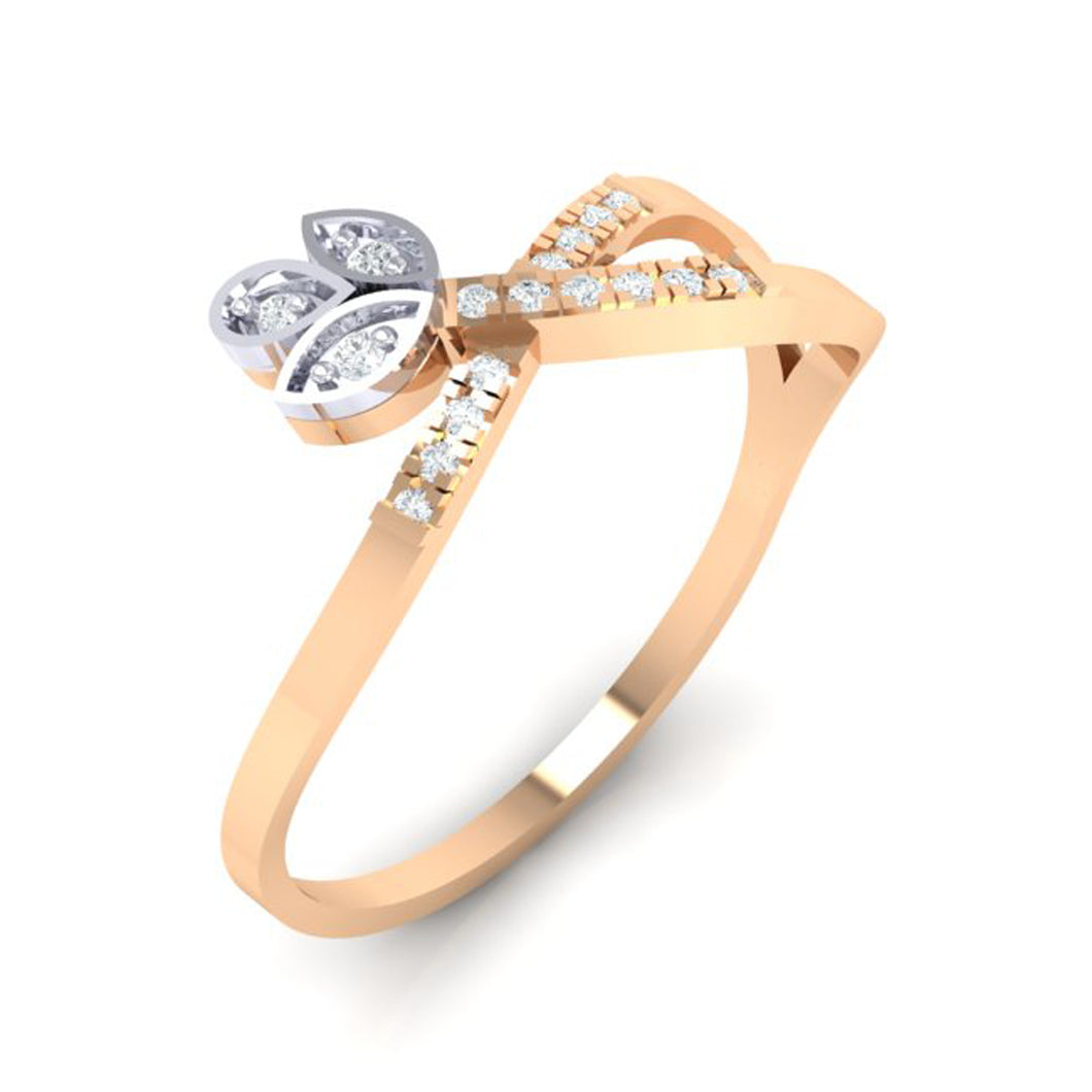 18Kt rose gold real diamond ring 54(1) by diamtrendz