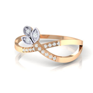 18Kt rose gold real diamond ring 54(3) by diamtrendz