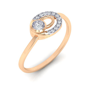 18Kt rose gold real diamond ring 55(1) by diamtrendz