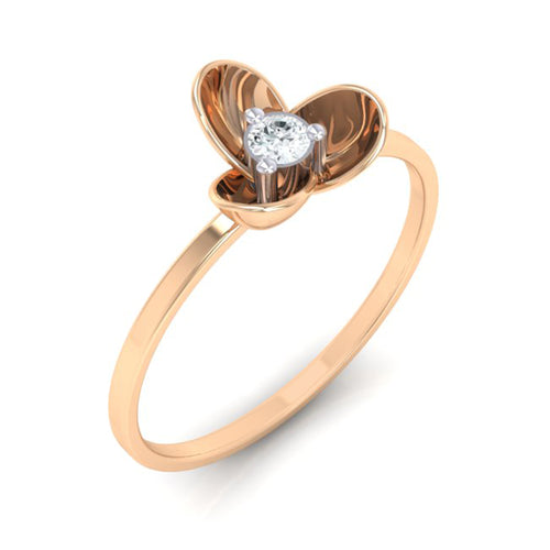 18Kt rose gold real diamond ring 56(1) by diamtrendz