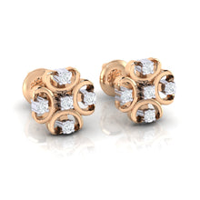 Load image into Gallery viewer, 18Kt rose gold real diamond earring by diamtrendz